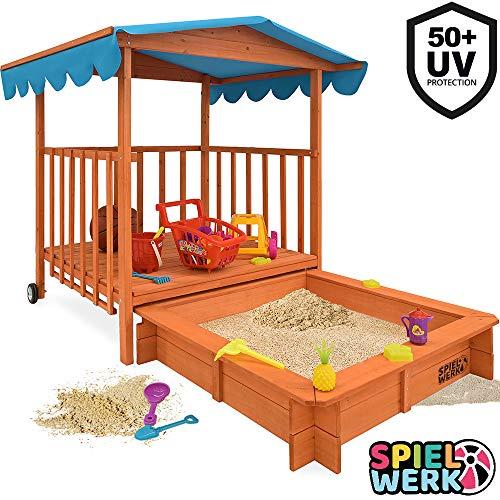 Sandkasten Dach XL | Sonnenschutz UV 50 | rollbare Spielveranda | Spielhaus...