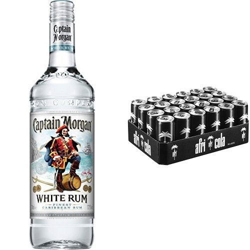 Captain Morgan White Rum (1 x 0.7 l) mit afri cola, EINWEG (24 x 330 ml)
