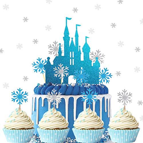 25 Stück Schloss Schneeflocke Blau Weiß Tortendeko mit Schneeflocke Konfetti...