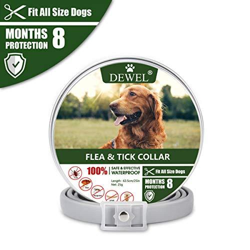 DEWEL Hundehalsbänder gegen Ungeziefer, 63,5cm Verstellbar Anti Floh und Zecken...