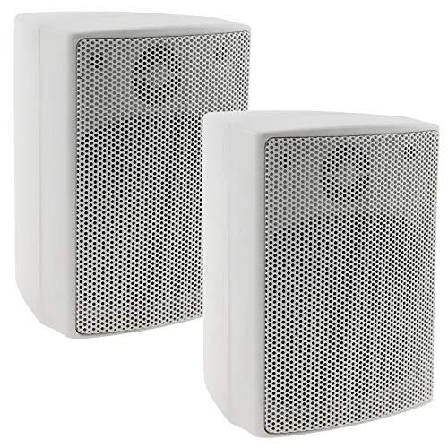 ChiliTec 2-Wege Lautsprecher Weiß, Paar, Wand-Lautsprecher für HiFi...