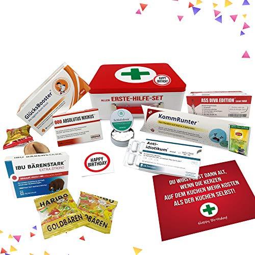 Geburtstagsgeschenk - Aller Erste Hilfe Set Geschenk-Box, witziger Sanikasten |...