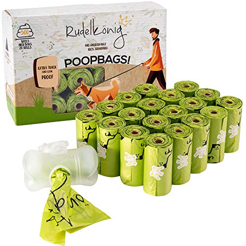 Rudelkönig Hundekotbeutel - 300 auslaufsichere Kotbeutel für Hunde extra dick...