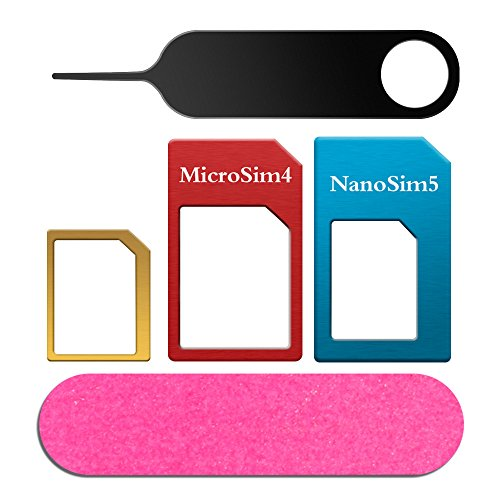 SIM Karten Adapter 5 in 1 Nano Micro Standard SIM Karten Adapter Kit Konverter...