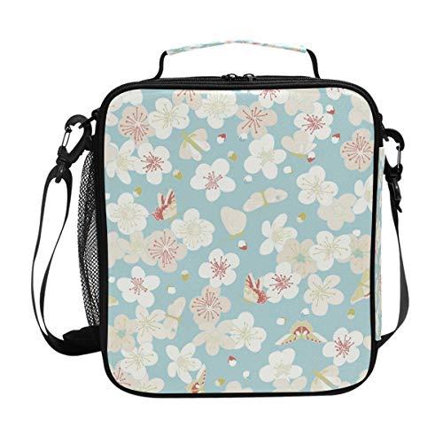 ALINLO Lunchtasche im japanischen Retro-Stil, Kirschblütenmuster, mit...