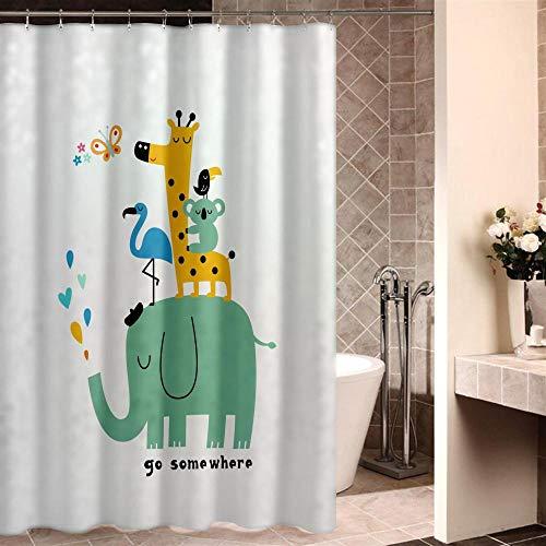 XTUK Home Decor Blau Grün Niedlich Cartoon Mode Bedruckt Badezimmer Vorhang...