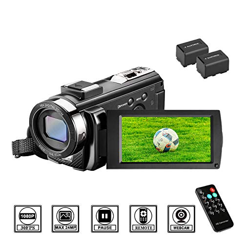 Camcorder Videokamera HD 1080P 24MP Video Camcorder, 16X Digitalzoom Kamera, 3,0...