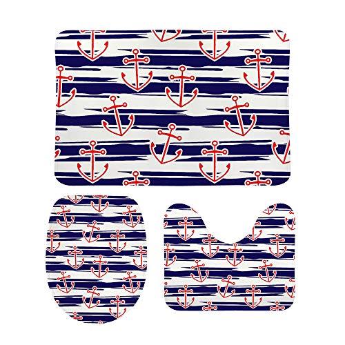 PICKIDS Badezimmerteppich, roter Anker mit blauen Streifen, Fußmatte,...