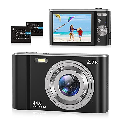 Digitalkamera 2.7K Foto Kamera Digital 44 MP HD Mini Digitalkamera mit 16X...