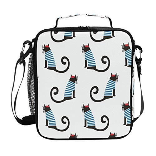 ALINLO Lunchtasche mit französischem Katzen-Muster, Reißverschluss, isolierte...
