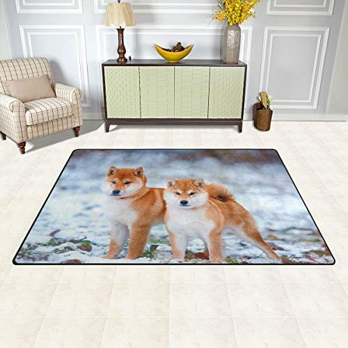 BKEOY Großflächiger Teppich, japanischer Shiba-Hund, für Schlafzimmer,...