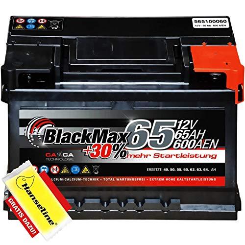 BlackMax Autobatterie 12V 65Ah mit Polfett statt 55Ah 56Ah 60Ah 61Ah 62Ah 63Ah...