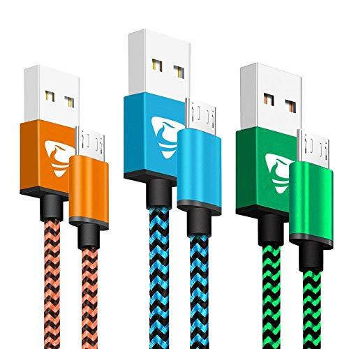 Micro USB Kabel, Aioneus 3Pack 2M Lang Micro USB Ladekabel Schnellladekabel...