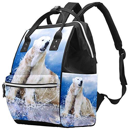 Polar Bear Große Kapazität Wickeltasche Canvas Handtasche Wickelrucksack...