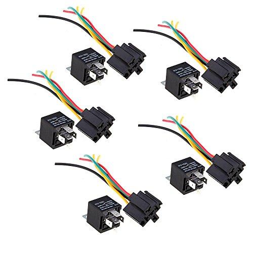 WOVELOT 5 Repeater Relais 5 Pin12V 30/40A + 5 Kabelbuchsen für Auto