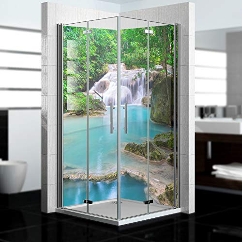 dedeco Eck-Duschrückwand wasserfest mit Wasserfall V7 Motiv - 2 x 90x200 cm,...