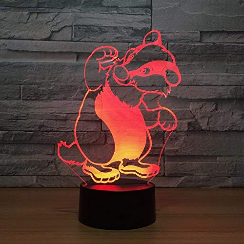Stereo Light Cute Hundebär Illusion 3D Lampe LED 7 Farbwechsel Touch LED 3D...