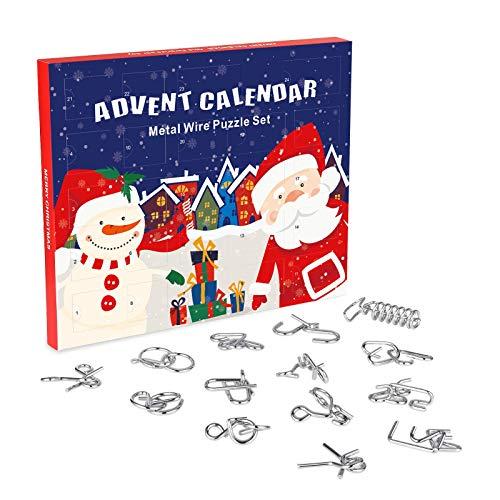 ANYUNKEY Adventskalender 2020, 24 Stück Knobelei aus Metall, Knifflige...