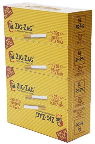 OCB 9008 Zig Zag Zigaretten Hülsen, Cigarette Tubes 4 Pakete, 250 Stück