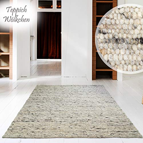 Hand-Web-Teppich | Reine Schur-Wolle im Skandinavischen Design | Wohnzimmer...