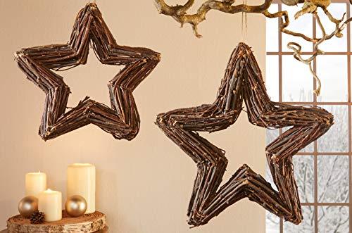 """2er Set Hänger """"Reisigstern"""" aus Rattan, handgebundene Tür & Fenster Deko,..."""