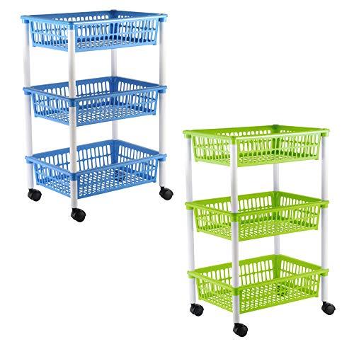 axentia Küchenwagen mit 3 Körben, Transportwagen auf Rollen, in Grün, Blau...