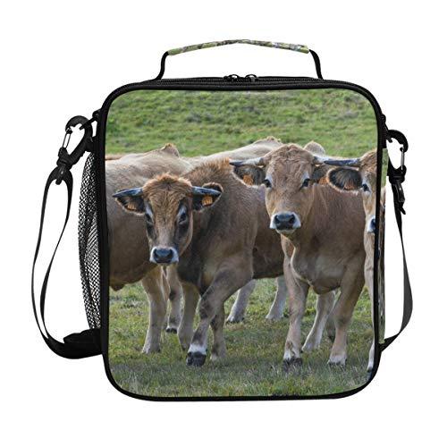 Lunchtasche mit Kuh-Motiv, isoliert, mit Schulterriemen, für Damen und Herren