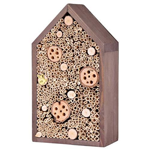 Kölle Insektenhotel mit Spitzdach, aus Holz, in anthrazit, 32 x 10 x 18 cm