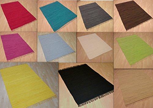 MB Warenhandel24 Handwebteppich Fleckerlteppich einfarbig Uni 100% Baumwolle...