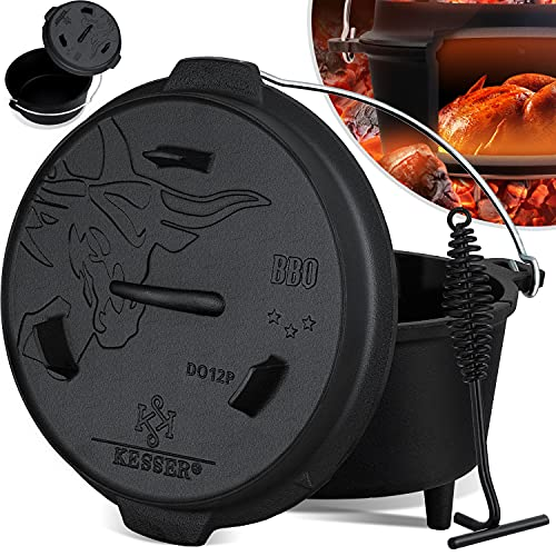 KESSER® Dutch Oven Set BBQ 12 Liter, Feuertopf Schmortopf mit Füßen,...