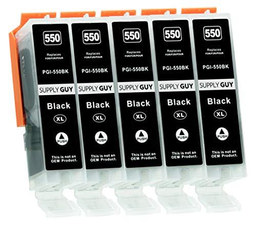 Supply Guy 5 Druckerpatronen mit Chip kompatibel mit Canon PGI-550 PGBK Schwarz...