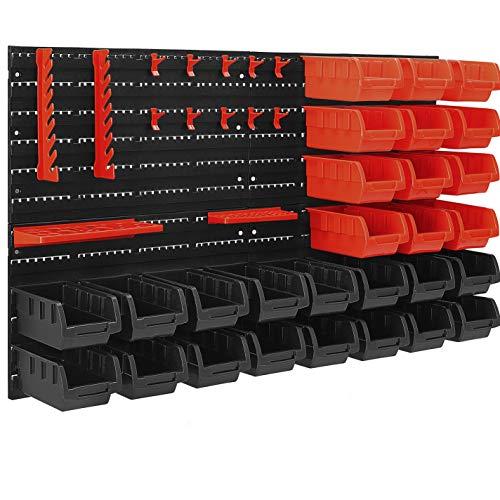 MASKO® Wandregal + Stapelboxen + Werkzeughalter | 45 tlg Box | Erweiterbar |...
