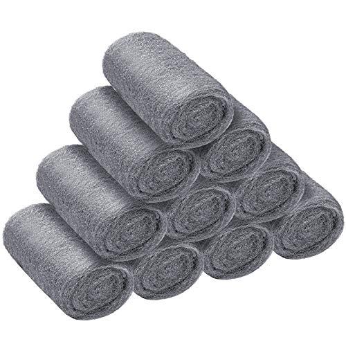 Aodaer 10 Stück Stahldraht-Wollpads der Güteklasse 0000 Stahlwolle,...