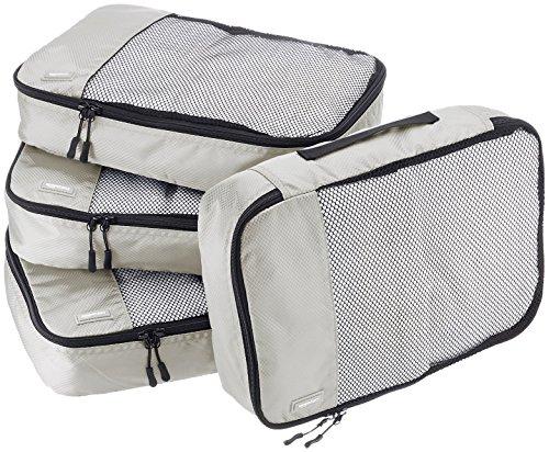 AmazonBasics Mittelgroße Kleidertaschen, 4 Stück, Grau