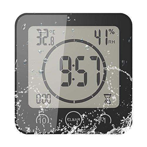 FORNORM Shower Clock Dusche Uhr Wasserdicht, Badezimmer Uhr Digital mit Saugnapf...
