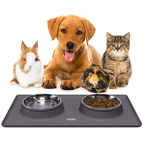 Katzenfutter Unterlage aus Silikon Katzennapf Hundenapf Set für Kleine Hunde...