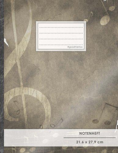 """Notenheft: DIN A4 • 48 Seiten, 24 Blatt, 12 Systeme, """"Vintage-Design"""" •..."""