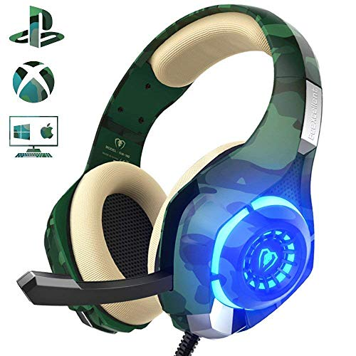 Beexcellent Gaming Headset für PS4 PC Xbox One, LED Licht Crystal Clarity Sound...
