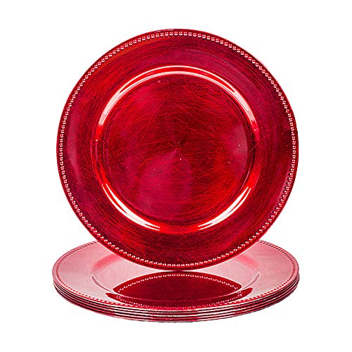 MAONAME Rote Platzteller mit Perlen, Kunststoff-Ladegeräte für Speiseteller,...