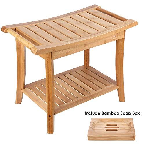 HOMECHO Badhocker Bambus Duschhocker mit 2 Etagen Sitzhocker mit Seifenkiste...