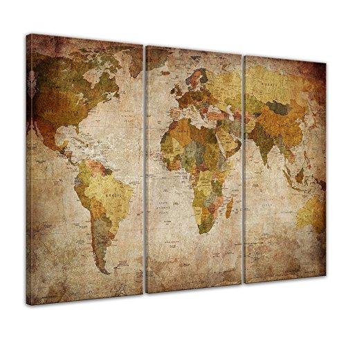 Bilderdepot24 Bild auf Leinwand   Weltkarte Retro I in 120x80 cm mehrteilig als...