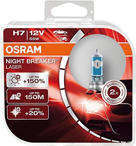 OSRAM NIGHT BREAKER LASER H7, +150% mehr Helligkeit, Halogen-Scheinwerferlampe,...