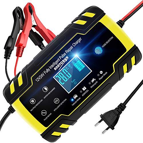 NWOUIIAY Autobatterie Ladegerät 8A/12V 4A/24V Batterieladegerät Auto...