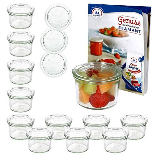 MamboCat 12er Set Weckgläser Sturzglas mit Deckel 200 ml I Original Weck...