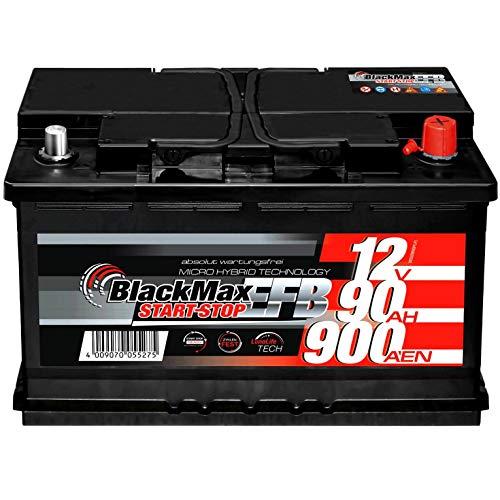 Autobatterie Start-Stop EFB 12V 90Ah 900A BlackMax Starterbatterie statt 65Ah...