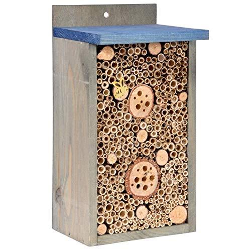 Kölle Insektenhotel mit Flachdach, aus Holz, in anthrazit, 32 x 15 x 17 cm