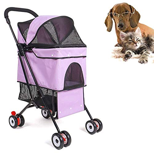 GXWLWXBB Pet Stroller, 4 Räder Katze Spaziergänger, faltbares Hundekinderwagen...