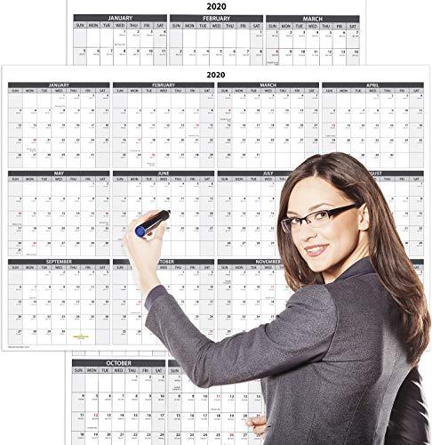 Delane Jahreswandkalender - Wet & Dry löschbare laminiert Jahreskalender -...