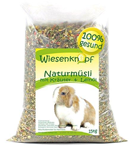 Wiesenknopf 15kg Kaninchenfutter Strukturfutter mit Kräuter, NEU 2x7,5kg Pack