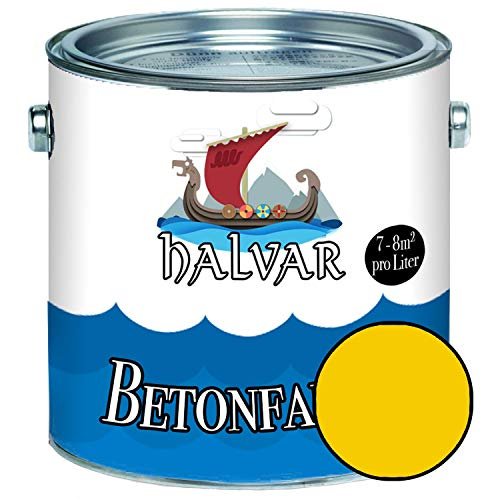 Halvar Betonfarbe/Bodenbeschichtung SEIDENMATT Gelb RAL 1000-1037 Fassadenfarbe...